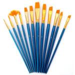 12pcs/Set Watercolor Paint Brushes Nylon Hair Oil Painting Pen DIY Art Tool