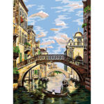 Frameless Painting By Numbers DIY Venice Bridge Hand Painted Oil Picture