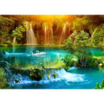 5D DIY Full Drill Diamond Painting Forest Swan Lake Cross Stitch Embroidery