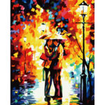 Hand Painted Artwork Frameless DIY Raining Lovers Painting By Numbers Kit