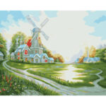 DIY Oil Painting By Numbers Beautiful House Kit Wall Art Coloring Picture