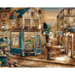 Frameless Landscape DIY Painting By Numbers Street Corner Canvas Picture