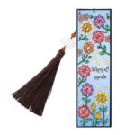 DIY Special Shaped Diamond Painting Color Flower Tassel Leather Bookmark