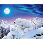 5D DIY Full Drill Diamond Painting White Bear Family Cross Stitch Craft Kit