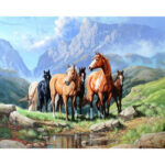 5D DIY Full Drill Diamond Painting Hiking Horses Cross Stitch Embroidery