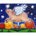 5D DIY Full Drill Diamond Painting Dreaming Pig Cross Stitch Embroidery Set