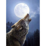 5D DIY Full Drill Diamond Painting Howling Wolf Cross Stitch Embroidery Kit