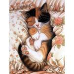 5D DIY Diamond Painting Sleeping Cat Embroidery Cross Stitch Home Decor