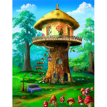 5D Diamond Painting DIY Tree Cottage Embroidery Cross Stitch Art Pictures