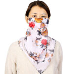 Women Chiffon Cycling Face Cover Sun Protection Floral Triangle Scarf (3)