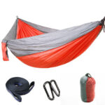 Outdoor Backyard Leisure Swing Chair Bed Camp Double Hammock (Grey+Orange)