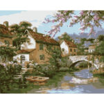 Village Oil Painting By Numbers Kit On Canvas Paint Art Pictures Home Decor