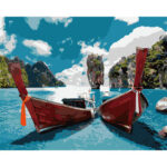 Two Boats DIY Oil Painting By Numbers Kits Drawing On Canvas Coloring Art