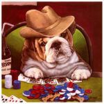 5D DIY Full Drill Diamond Painting Gambler Dog Cross Stitch Embroidery Kit