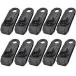 10x Outdoor Camping Tent Awning Canopy Clamp Tarp Nylon Snap Clips (Black)