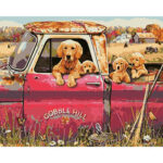 DIY Digital Oil Painting By Numbers Kits Dogs in Car Modern Wall Art Decor