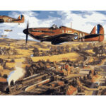 DIY Digital Oil Painting By Numbers Kit Flying Plane Color Picture Wall Art