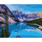 DIY Digital Oil Painting By Numbers Mountains and Rivers Landscape Wall Art