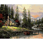 DIY Digital Oil Painting By Numbers Riverside Hut Canvas Acrylic Wall Art