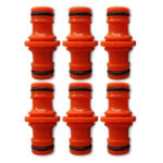 6pcs Garden Irrigation Hose Connector Hose Pipe Connection Adapter (Orange)