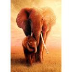 5D DIY Full Round Drill Diamond Painting Snuggle Elephant Cross Stitch Kit