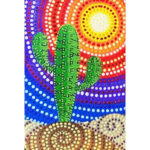 5D DIY Full Round Drill Diamond Painting Positive Cactus Embroidery Decor