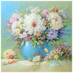 5D DIY Full Round Drill Diamond Painting Table Flowers Cross Stitch Craft