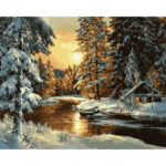 DIY Digital Oil Painting By Numbers Kits Snow Sunrise Modern Wall Picture