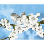 DIY Digital Oil Painting By Numbers Kits Birds on Flower Branch Art Picture
