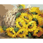 DIY Digital Oil Painting By Numbers Kits Basket Sunflower Canvas Picture