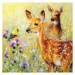 5D DIY Full Round Drill Diamond Painting Grass Deer Cross Stitch Embroidery