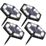 4x 12 LED Solar Buried Lamps Outdoor Garden Stairs Decking Ground Lights