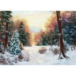 5D DIY Full Round Drill Diamond Painting Snowing Forest Cross Stitch Mosaic