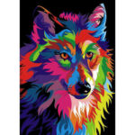 5D DIY Full Round Drill Diamond Painting Colorful Wolf Cross Stitch Mosaic