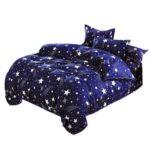 4pcs Bedding Set Star Pattern Duvet Cover Flat Bed Sheet Pillowcase (2m)
