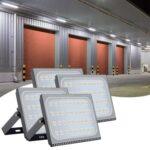 4pcs Ultraslim 200W LED Floodlight Outdoor Security Lights 110V Warm White