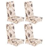 4pcs Elastic Beige Flower Thin Dining Chair Cover Banquet Party Home Decor