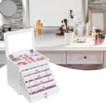 High Large Gloss Wooden Jewellery Box Armoire Bracelet Organizer Storage  5 Layers Glass White-88238
