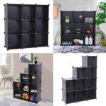 Cube Storage 9-Cube Closet Organizer Storage Shelves Cubes Organizer DIY Closet Cabinet Black-387046