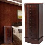 Jewelry Cabinet Box Storage Chest Necklace Wood Walnut Stand Organizer-28727290