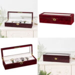 6 Slots Wooden Case  Watch Display Case Glass Top Jewelry Storage Organizer Gifts-38977727