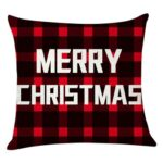 Elk Print Checked Xmas Pillow Case Sofa Cushion Cover Home Party Decor (3)