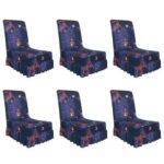 Dark Blue Chair Cover Elastic Thin Seat Case with Ruffled Hem (6pcs)