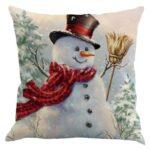 Christmas Snowman Pattern Linen Pillowcase Soft Sofa Throw Pillow Case (2)