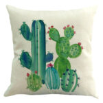 Linen Pillow Case Cactus Printed Pillow Cushion Cover Home Car Decor (H)