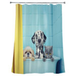 Dog Cat Print Green Shower Curtains Waterproof Hanging Cloth Hotel Bathroom