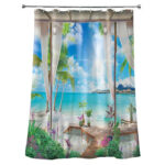 Tropical Bay Print Shower Curtain Bathroom Waterproof Polyester Curtains