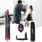Zomei T60 Portable Tripod with Phone Clip and Bluetooth Remote Control Black Red-94704878