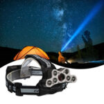 120000LM 6 Modes 9 LED Headlamp USB Rechargeable Strong Headlamp Set Silver Gray-35141813
