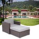 Patio PE Wicker Rattan Single Sofa and  Ottoman Sofa-68127666